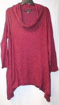 NEW FRENCH LAUNDRY WOMENS PLUS SIZE 3X BURGUNDY RED HI LOW FUNNEL NECK S... - $19.34