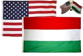 Wholesale Combo USA & Hungary Country 2x3 2'x3' Flag & Friendship Lapel Pin - $13.88