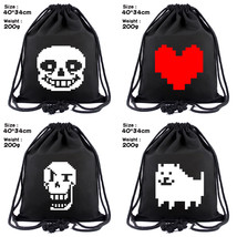 Game Undertale Printed Drawstring Bag Canvas Backpack Black Lightweight ... - $9.59