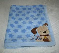 Just Born Baby Boy Blanket Blue Plush Stars Lil All Star Puppy Dog Corne... - $29.00