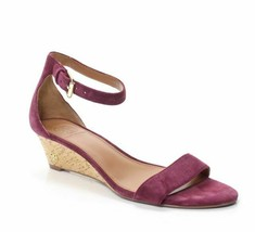 TORY BURCH Savannah Plum Suede Wedge Sandals Gold Logo sz 9 M New - $72.38