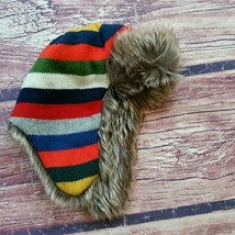 Baby Gap Crazy Stripes faux fur trapper hat sz M/L NWT - $24.50