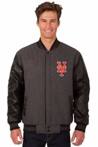 MLB New York Mets Wool & Leather Reversible Jacket with Embroidered Logos Gray - $269.99