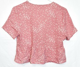 Lottie Moss Women's Pink Floral Open Front Tie Short Sleeve Shirt Size XS image 2