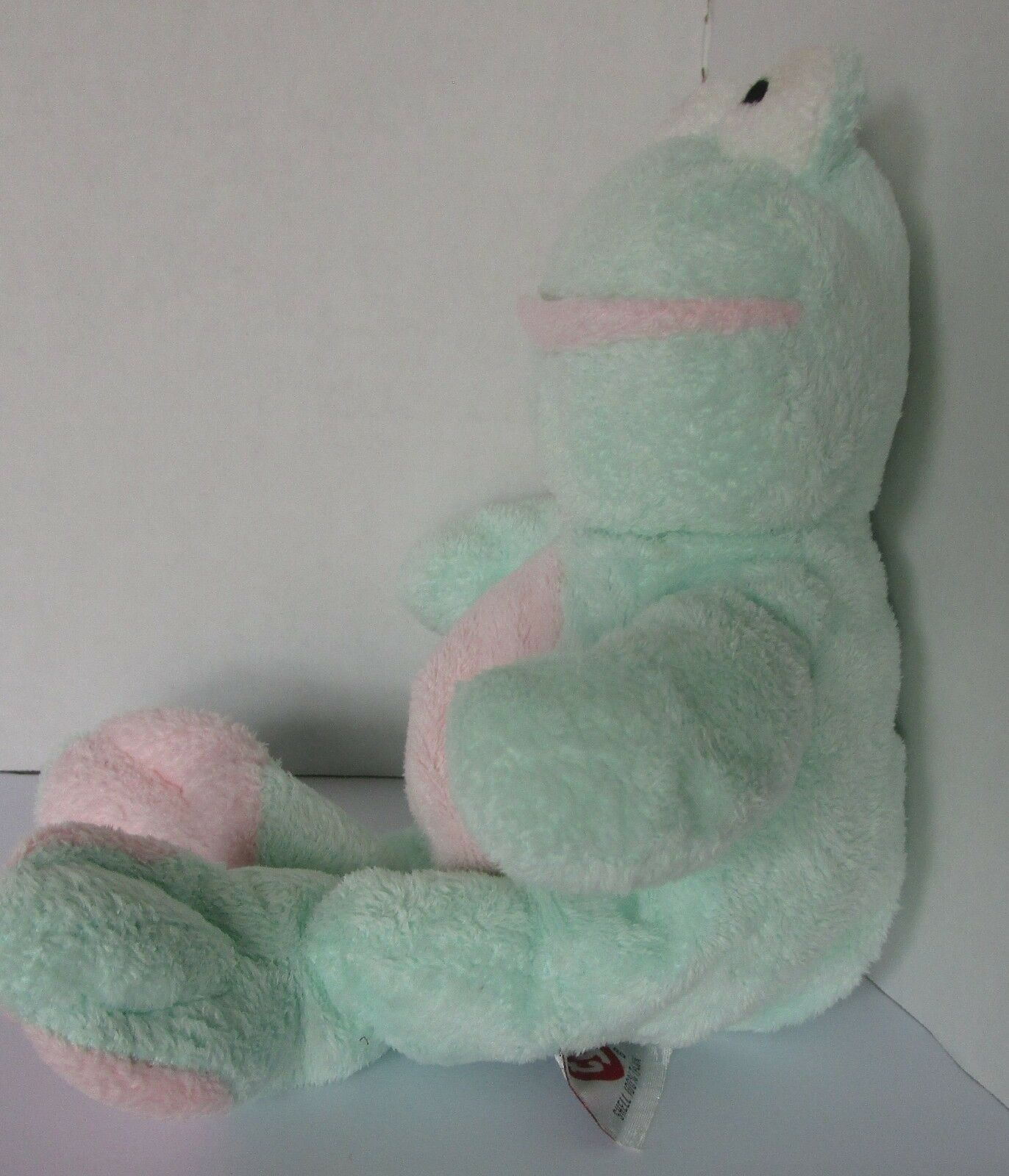 """Ty Pluffies Frog Grins Beanie Tylux Mint Green Pale Pink 10"""" Plush Sewn Eyes"""