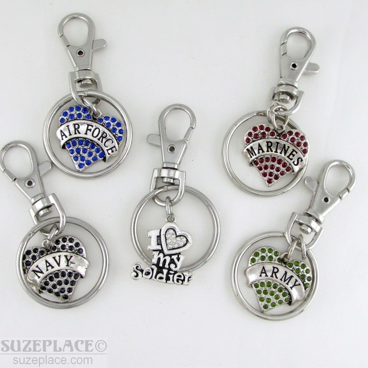 Primary image for NEW MILITARY CRYSTAL HEART KEY CHAINS ARMY AIR FORCE NAVY MARINES SOLDIER