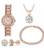 Women Stainless Steel Bracelet Quartz Watch Set Lady Bracelet Dress Wris... - $14.99