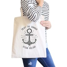 Enjoy The Summer Ocean Holiday Natural Canvas Bags - $15.99