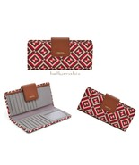 NWT Fossil Women's Madison Slim Tab Clutch Leather Red Multi Wallet - $56.09