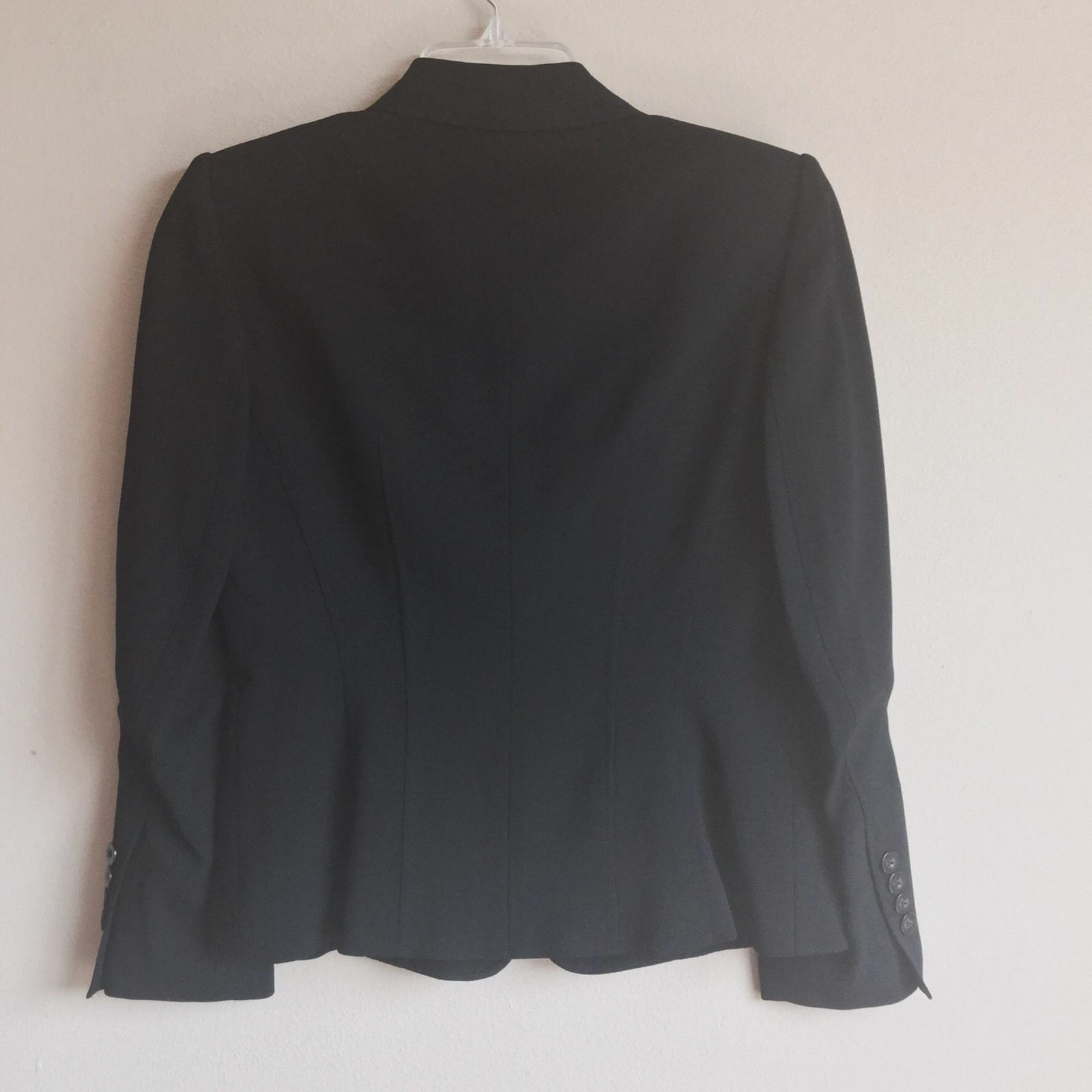 $199 Talbot's 2P Blazer Jacket Black Crepe V-Neck Double Button Italy USA 2
