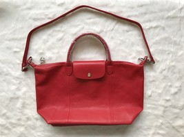 Longchamp Le Pliage Cuir Top Handle Hand Bag Medium Size Red Auth - $430.00
