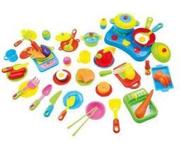 PANDA SUPERSTORE Pretend Play Kitchen Kits Cooking Set for Kids 60 Pcs