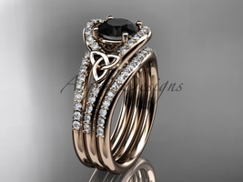 Black Diamond celtic trinity knot wedding Set, 14kt rose gold diamond CT7317S - $3,140.00