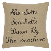 "She Sells Seashells Pillow w/Down Fill - 18""x18"" - VHC Brands - Country Nautical"