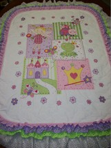 "Handcrafted Quilted X Stitched ""FROG PRINCESS"" Baby Quilt Crib add Baby'... - $179.99"