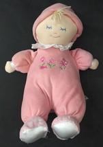 Yangzhou Hengan Toys Plush Doll Blonde Girl Pink Stuffed Lovey Lace Collar - $12.86