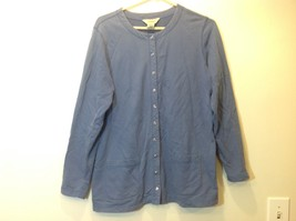 L.L. Bean Deep Periwinkle Blue Button Down Long Sleeve Sweater w Pockets Sz M