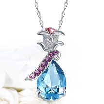 Women's Rose Vintage Pendant Crystals Swarovski S925 Sterling Silver Nec... - $28.49