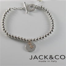 SILVER 925 BRACELET JACK&CO WITH BEADS SHINY AND PENDANT GOLD PINK 9 CARATS image 5