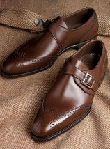 Handmade Men's Brown Heart Medallion Monk Strap Leather Shoes image 3
