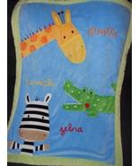 Koala Baby Blanket Blue Green Animals Zebra Giraffe Crocodile Sherpa - $25.72