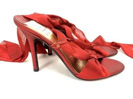 Bcbgmaxazria Peep Toe Ribbon Tied Red Heels 6.5 M NWOB BCBG Stiletto MSRP $168 - $57.60
