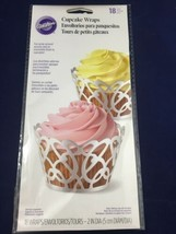 Wilton 18pk White Pearl Foil Swirls Cupcake Cake Muffin Wraps Cases Holders - $5.35