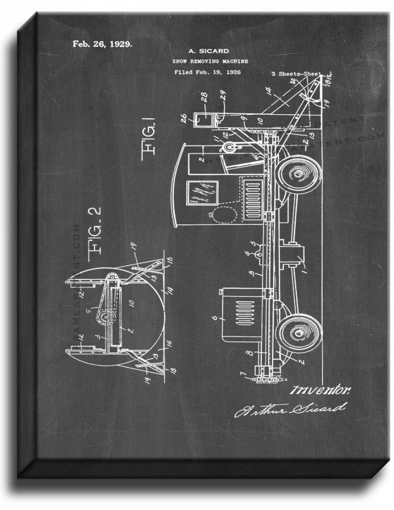 Primary image for Snow-removing Machine Patent Print Chalkboard on Canvas