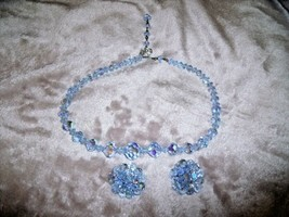 "VINTAGE 1950s Faceted BLUE Crystal BEAD NECKLACE & CLIP EARRING SET 16"" - $38.65"