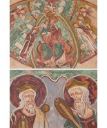 CHURCH PAINTINGS 13th C France at Montmorillon - 1888 COLOR Litho Print - $21.60