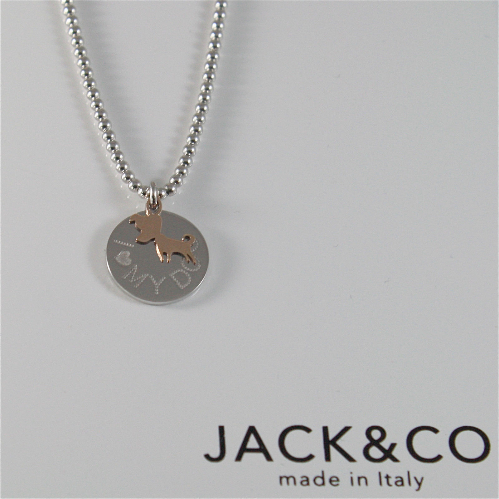 COLLANA A PALLINE IN ARGENTO 925 JACK&CO CON CANE JACK IN ORO ROSA 9KT JCN0549
