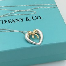 Tiffany & Co Sterling Silver 18K Yellow Gold Heart and Bow Ribbon Neckla... - $175.00