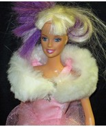 Vintage Barbie White Fur Stole With Pink Satin ... - $17.66
