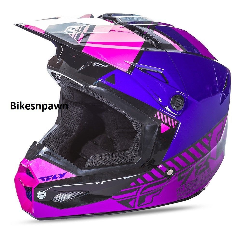 New L Adult Fly Racing Elite Onset Motocross Off Road Helmet Pink/Purple/Black