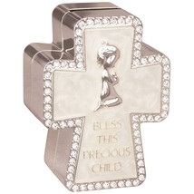 Praying Girl Bless This Precious Child Cross Bank Christian Baby Shower ... - $18.97