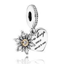925 Sterling Silver & 14K Gold Snowflake Heart Charm Bead QJCB1060 - €20,79 EUR+