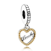 925 Sterling Silver & 14K Gold Loving Family Dangle Charm Bead QJCB1059 - $29.99
