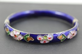 Vintage Floral Blue Enamel Bracelet 6cm by 1cm - $15.25
