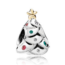 925 Sterling Silver & 14K Gold Christmas Festive Tree Charm Bead QJCB1061 - $29.99
