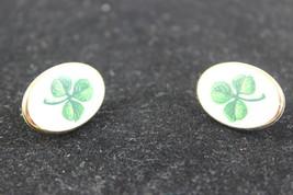 Vintage Green Clover Clip Earrings - $10.40