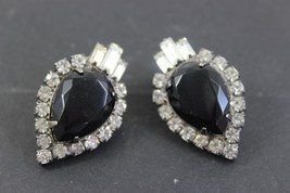 Vintage Rhinestone Stud Earrings 1.25 inches - $16.63