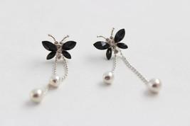 Vintage Rhinestone Butterfly Earrings - $3.47
