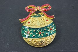 Vintage Gold Tone Enamel Ornament Brooch Pin - $27.72
