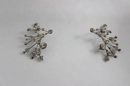 Super Rare Large Vintage Sputnik Style Rhinestone Earrings Stud and Clip - $103.95