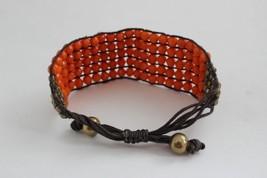 Vintage Orange Bead Adjustable Bracelet Hippie - $4.85