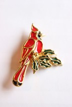 Vintage Glass Poured Cardinal Bird Brooch - $24.26