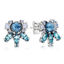 925 Sterling Silver Patterns of Frost Colored Crystal Stud Earrings QJCB1070 - $21.99
