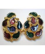 Multi color enamal and gold tone clip on earrings - $10.00