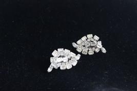 Vintage Mid Century Rhinestone Clip Earrings 4cm - $6.58