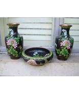 Lovely vintage matching asia Chinese cloisonne vase & bowl - $250.00